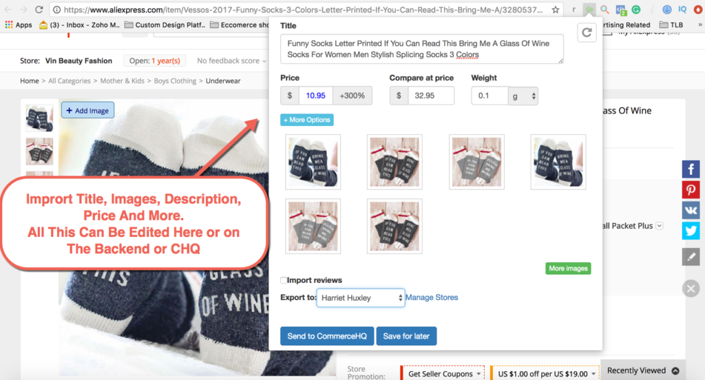 Importing images, description and price from Dropified to CommerceHQ