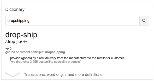 What does dropshipping mean?