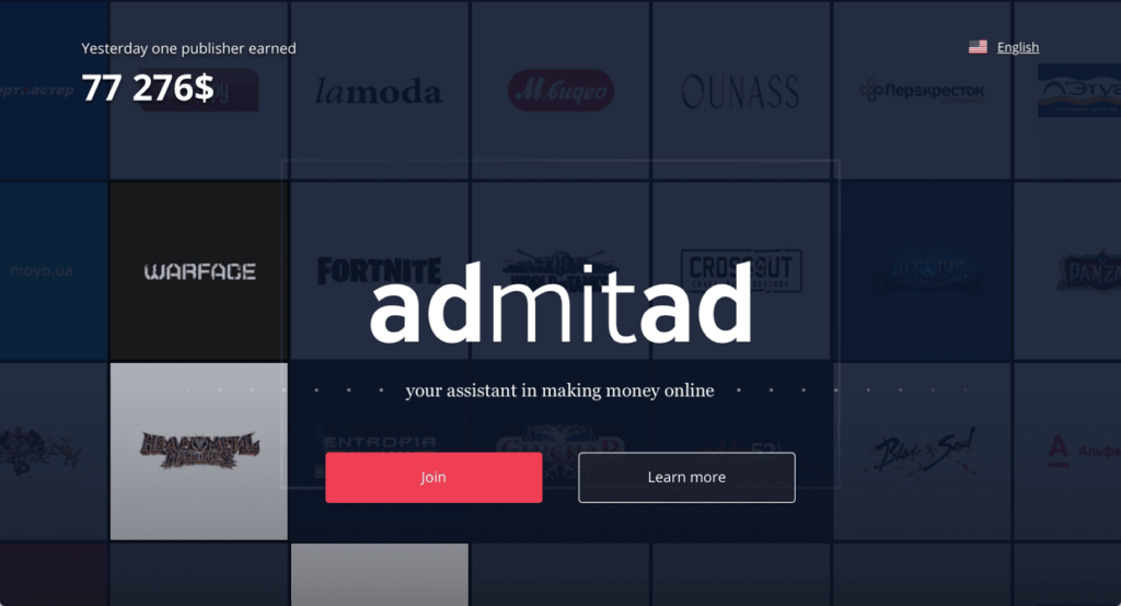 Image of Admitad Sign Up Page