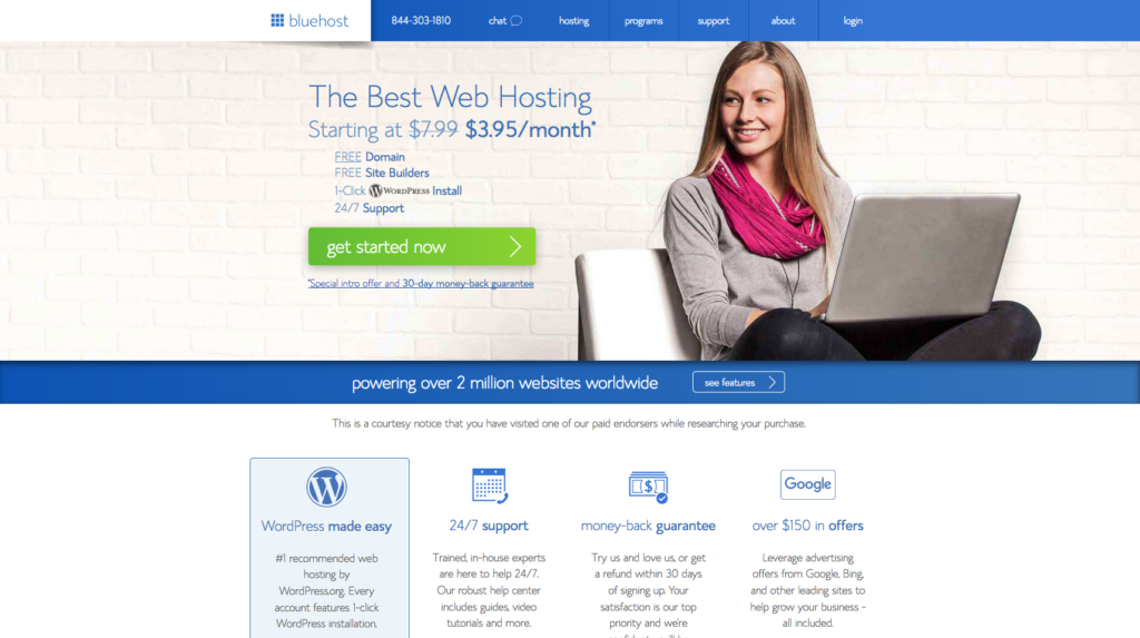 Bluehost hosting main page