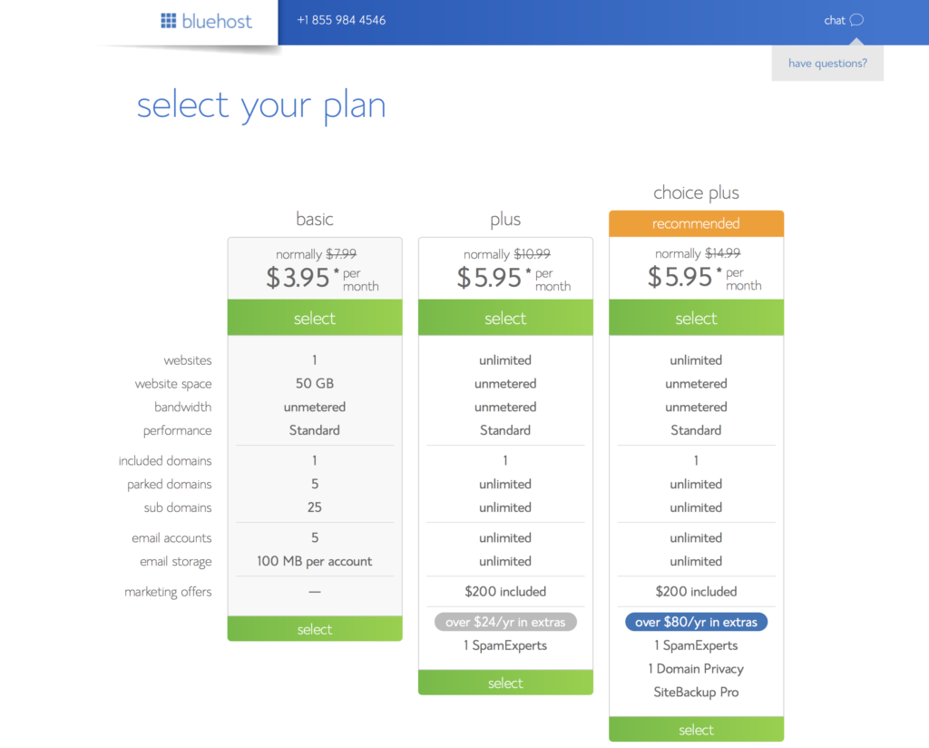 Pick your Bluehost hosting plan