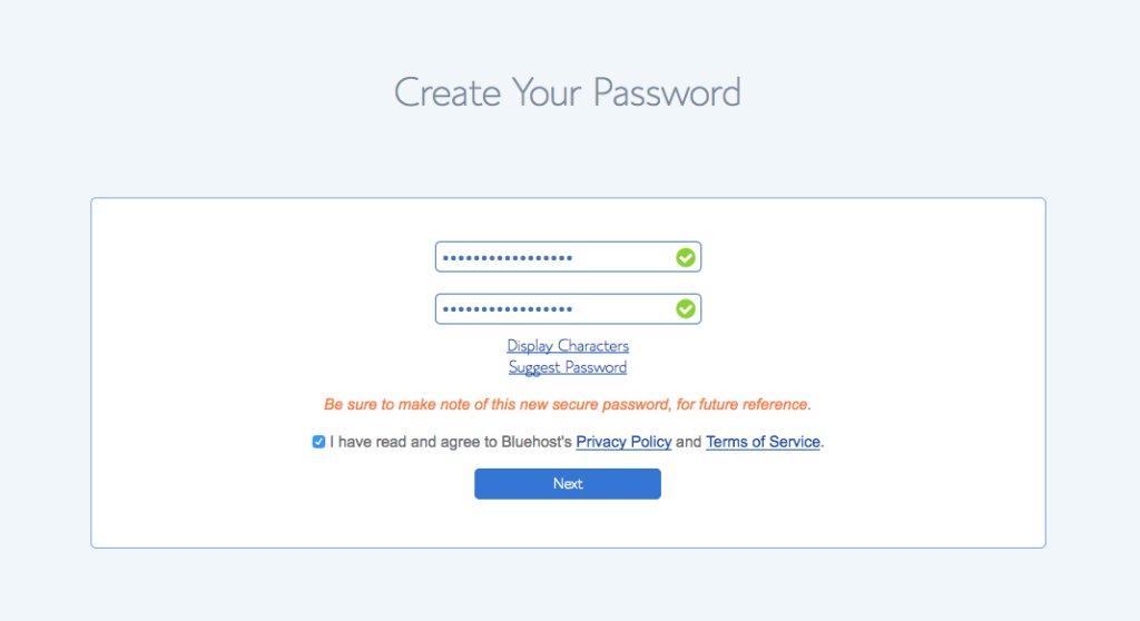 Step 2 password creation