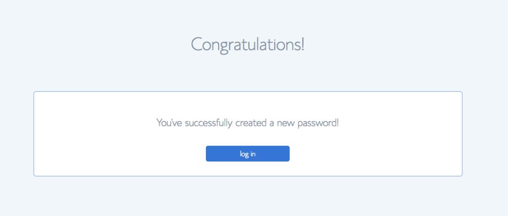 Login congratulations screen