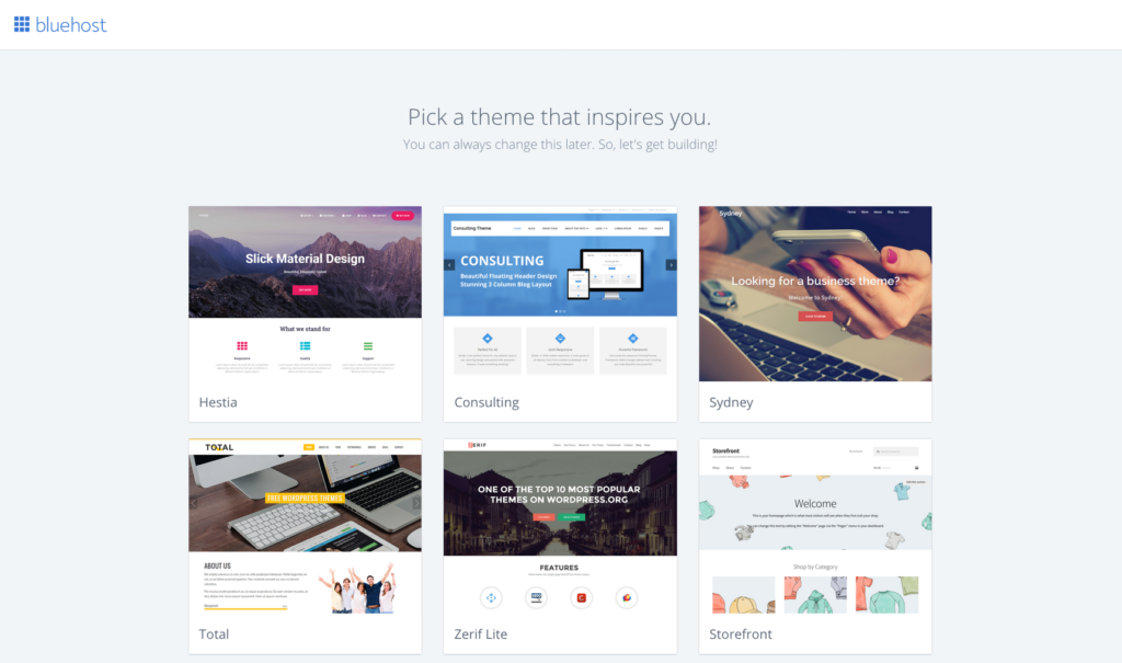 Choice of WordPress themes with Bluehost